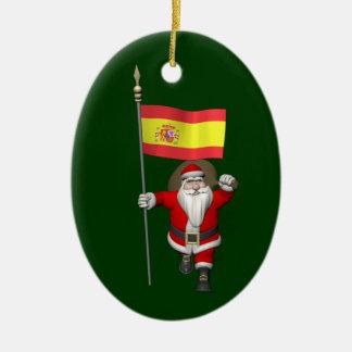 Jultomten med ensignen av Spanien Julgransprydnad Keramik
