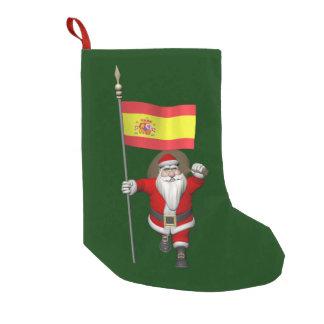 Jultomten med ensignen av Spanien Liten Julstrumpa