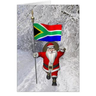 Jultomten med ensignen av Sydafrika Hälsningskort