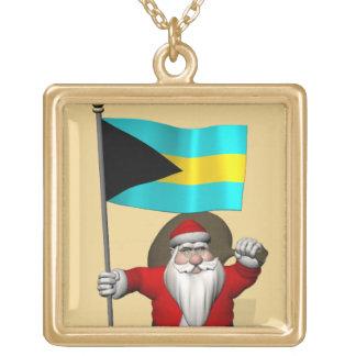 Jultomten med flagga av Bahamas Guldpläterat Halsband