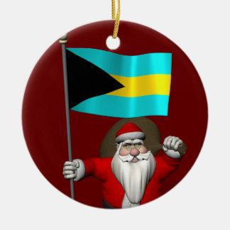 Jultomten med flagga av Bahamas Julgransprydnad Keramik