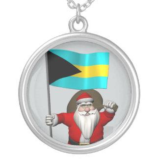 Jultomten med flagga av Bahamas Silverpläterat Halsband