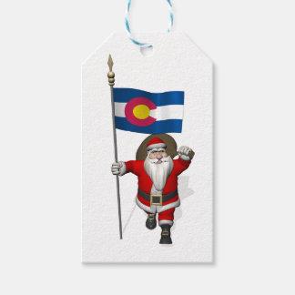 Jultomten med flagga av Colorado Presentetikett