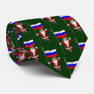 Jultomten med flagga av den ryska federationen slips