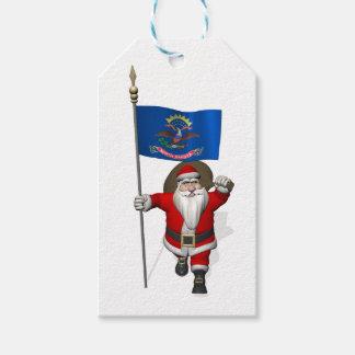 Jultomten med flagga av North Dakota Presentetikett