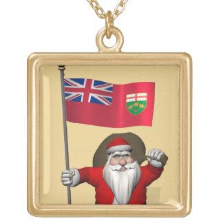 Jultomten med flagga av Ontario CDN Guldpläterat Halsband