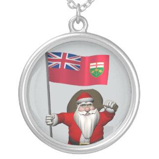 Jultomten med flagga av Ontario CDN Silverpläterat Halsband