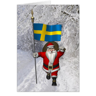 Jultomten med flagga av sverigen hälsningskort