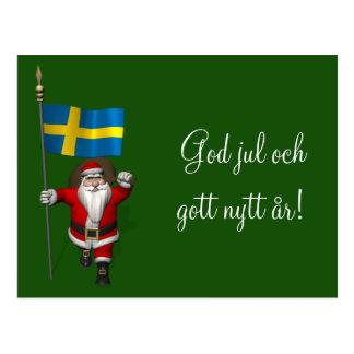 Jultomten med flagga av sverigen vykort