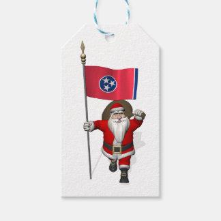 Jultomten med flagga av Tennessee Presentetikett