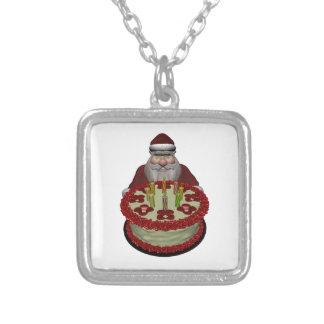Jultomten med födelsedagtårtan silverpläterat halsband