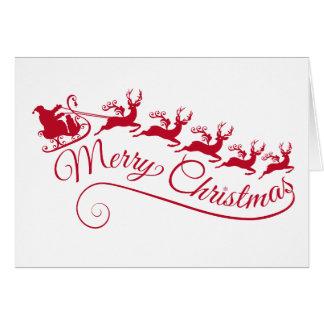 Jultomten med hans sleigh och ren hälsningskort