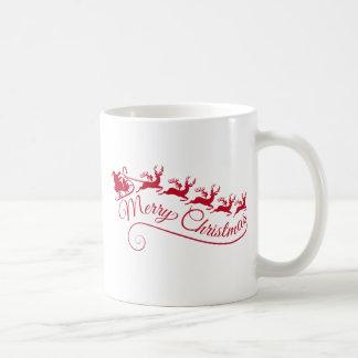 Jultomten med hans sleigh och ren kaffemugg