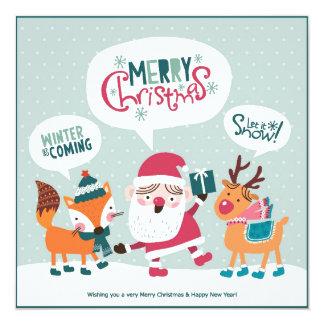 Jultomten med räven & renen fyrkantigt 13,3 cm inbjudningskort