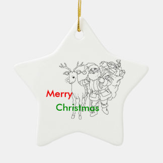 Jultomten med renen, god jul julgransdekorationer