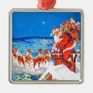 Jultomten och hans ren upp på rooftopen silverfärgad fyrkantigt julgransprydnad