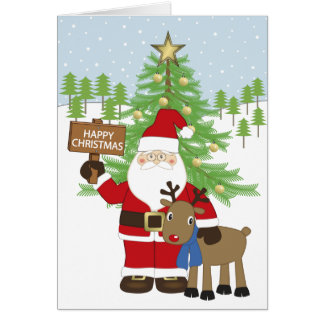 Jultomten och Rudolf renen Hälsningskort