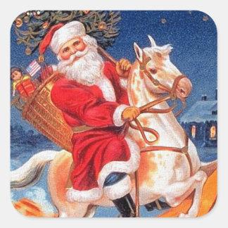 """""""Jultomten på hästrygg """", Fyrkantigt Klistermärke"""