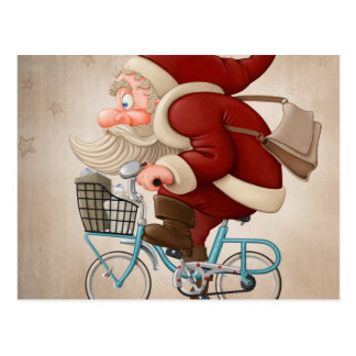 Jultomten rider cykeln vykort