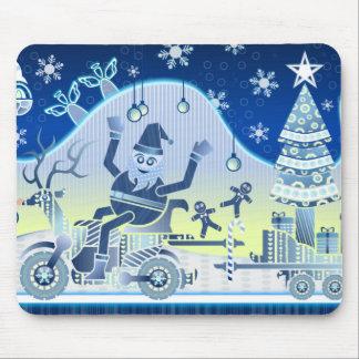 Jultomten som Carting gåvor över ett snöig, Mus Matta