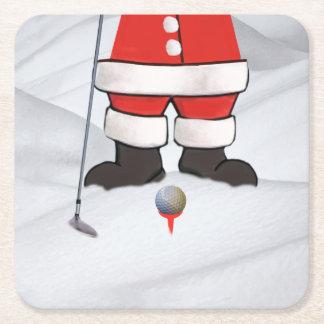 Jultomten som leker Golf i snön Underlägg Papper Kvadrat