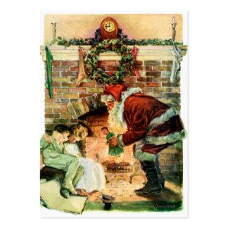 Jultomten som levererar presenter set av breda visitkort