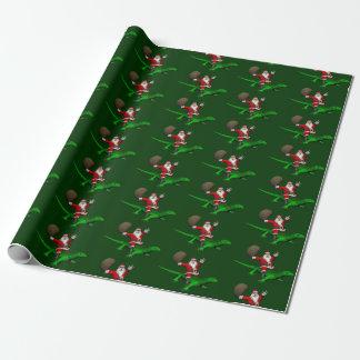 Jultomten som rider den gröna ödlan presentpapper