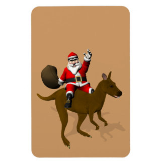 Jultomten som rider på känguru magnet