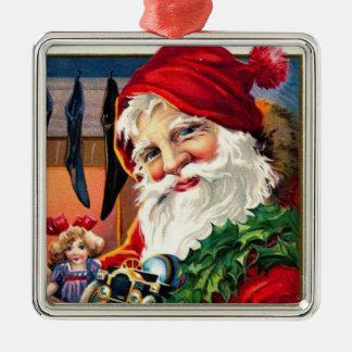 Jultomten & strumpor silverfärgad fyrkantigt julgransprydnad