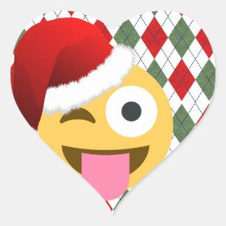 jultomtenblinkningemoji hjärtformat klistermärke