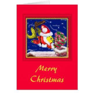 Jultomtenfisk - roliga gulliga jultecknader hälsningskort