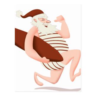 Jultomtensurfa-santa claus tecknad-santa springa vykort