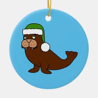 Julvalross med den gröna Santa hatten Julgransprydnad Keramik