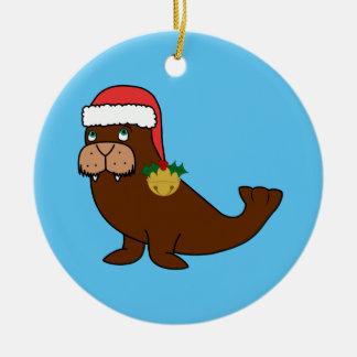 Julvalrossar med den Santa hatten & guld sätta en Julgransprydnad Keramik
