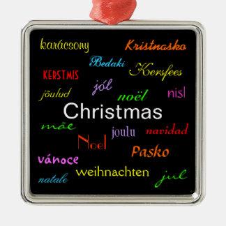 Julvärld runt i svart dropp julgranskulor