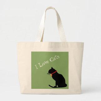 Jumbon älskar jag katter grönt och grafisk toto jumbo tygkasse