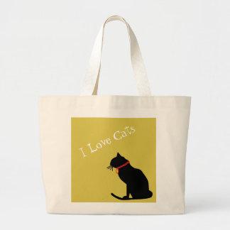 Jumbon älskar jag katter gult och grafisk toto för jumbo tygkasse