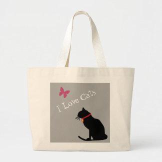 Jumbon älskar jag kattgrå färg och grafisk toto jumbo tygkasse