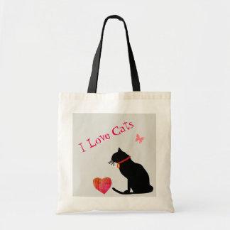 Jumbon älskar jag röda katter och grafisk toto för tygkasse