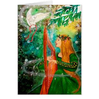 Jungfru- harpa för julYule älva, ugglahälsningkort Hälsningskort