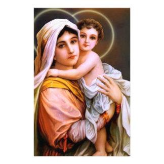 Jungfrulig mor Mary med babyen Jesus Brevpapper