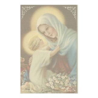 Jungfrulig mor Mary med babyJesus daisy Brevpapper