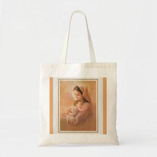 Jungfruliga Madonna Mary med Kristusbarnet Jesus Tygkasse