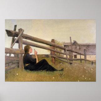 Juni. Flicka som blåser maskrosfrö, 1899 Affisch