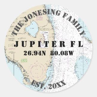 Jupiter Florida förseglar det nautiska kuvertet Runt Klistermärke