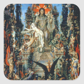Jupiter och Semele, 1894-95 (olja på kanfas) Fyrkantigt Klistermärke