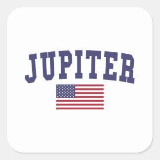 Jupiter US flagga Fyrkantigt Klistermärke