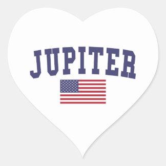 Jupiter US flagga Hjärtformat Klistermärke
