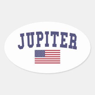 Jupiter US flagga Ovalt Klistermärke