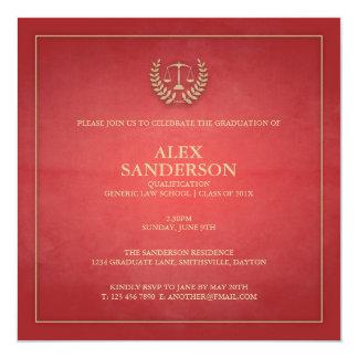 Juridisk fakultetstudentenmeddelande röd | fyrkantigt 13,3 cm inbjudningskort